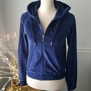 Juicy Couture Blue Velour Zip Hoodie, Med